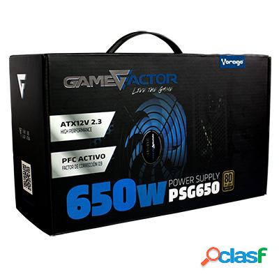 Fuente de poder game factor psg650 80 plus bronze, 20+4 pin atx, 120mm, 650w, negro