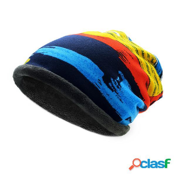Hombres mujer rayas estampadas hip hop gorros skullies sombreros plus bufanda a prueba de viento de cachemira gorra holgada