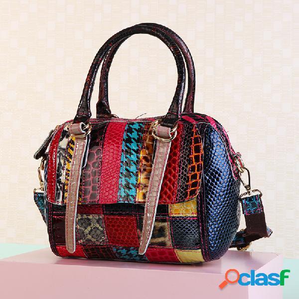Mujer elegante bolso de patchwork hombro multicolor bolsa crossbody bolsa