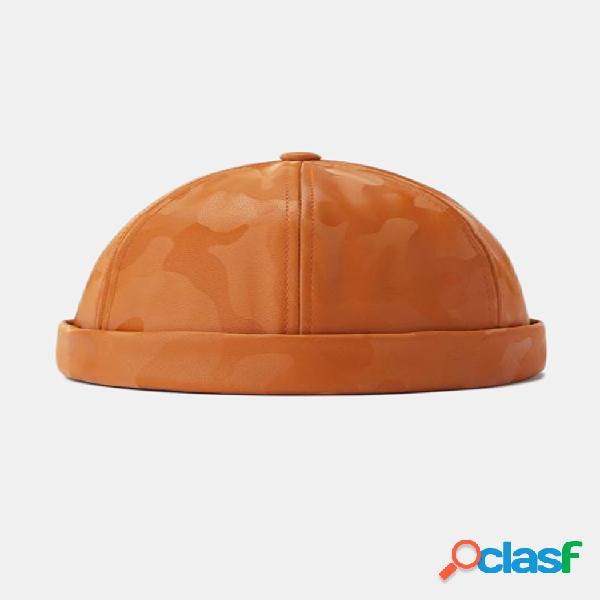 Unisex street camo leather hip hop cráneo gorras sombreros sin ala retro