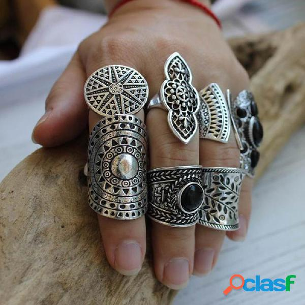 8 unids / set vendimia anillos de metal tallado mujer set bohemian wide silver sun jewelry ring