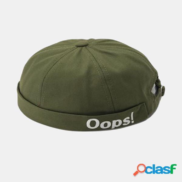 Personalidad unisex yara sombreros sin borde bordado de letras gorras skulll sombrero de melón sombrero de hip hop