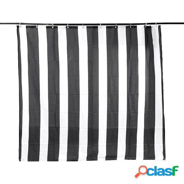 Rayas verticales en blanco y negro impermeable cuarto de baño cortina de ducha con 12 ganchos
