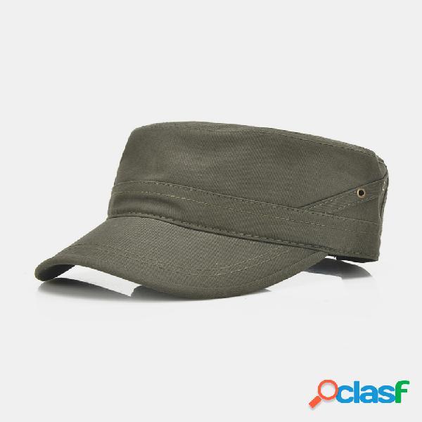 Béisbol plano transpirable de algodón para hombre sombrero al aire libre visera deportiva militar gorra de entrenamiento ajustable