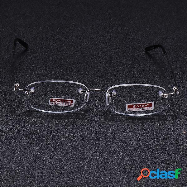 1pair resina metal frameless glasses ultra-light reading glasses para hombres mujeres