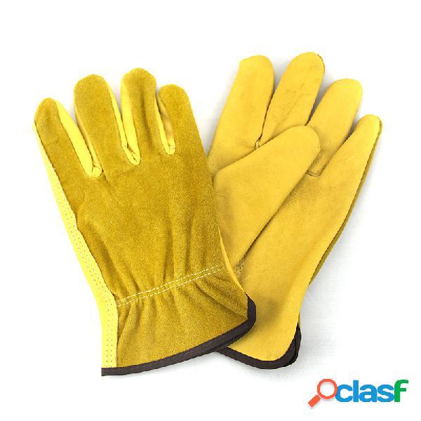 1 par de cuero guantes protección para el trabajo guantes seguridad para el trabajo del jardín guantes protección contra el desgaste herramientas