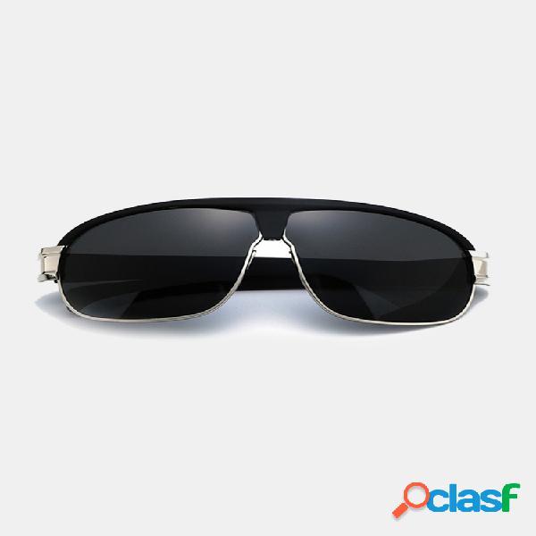 Gafas de sol polarizadas anti-uv informales para hombres de moda al aire libre protector solar de marco grande uv400 anteojos