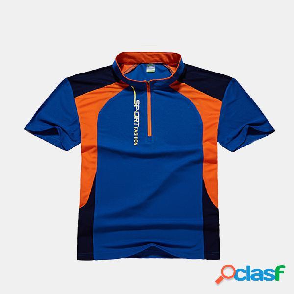 Mens summer al aire libre camiseta deportiva casual de manga corta transpirable de secado rápido