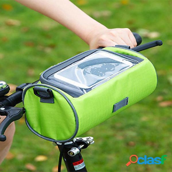 Material de tela oxford cremallera color sólido al aire libre equitación deportiva bolsa almacenamiento visual para bicicletas bolsa