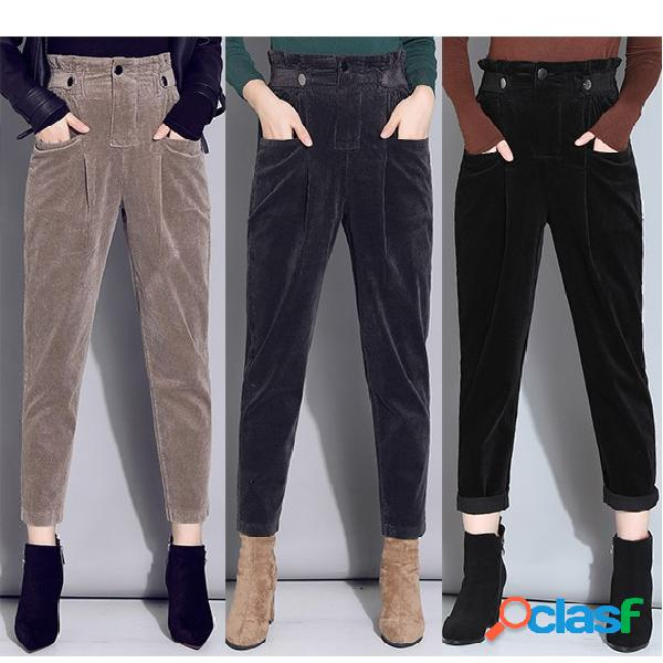 Pana pantalones mujer pies harem pantalones rábano de cintura elástica pantalones pana suelta recortada pantalones