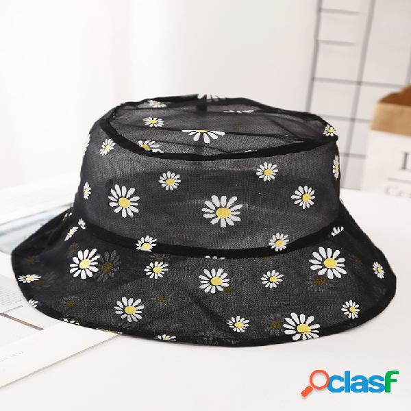 Hilo neto pescador sombrero pequeña flor de margarita pequeña, transpirable, fresca al aire libre protector solar sombrero