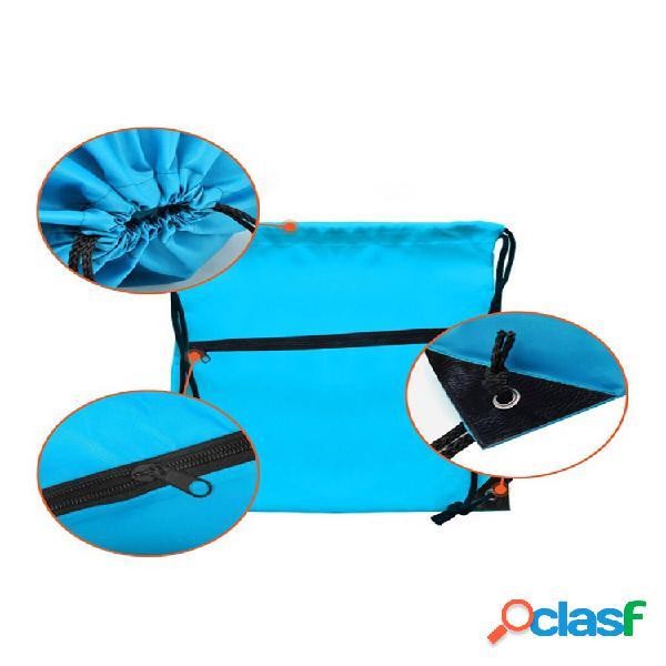 Compartimento con cordón almacenamiento con cremallera bolsa con conector para auriculares multifunción al aire libre mochila deportiva