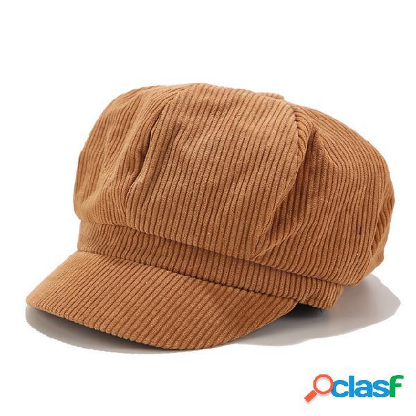 Pana color sólido de las mujeres sombrero gorra octogonal retro