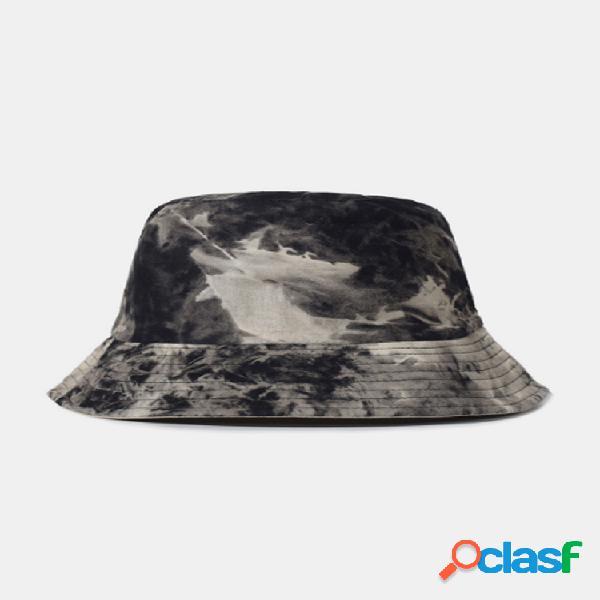 Hombre algodón teñido anudado de doble cara al aire libre protector solar sun sombrero cubo sombrero