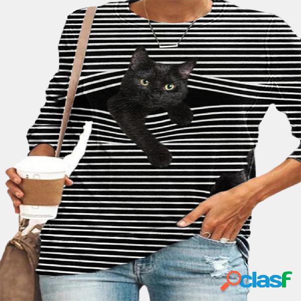 Negro gato estampado manga larga cuello redondo blanco rayas plus talla camiseta