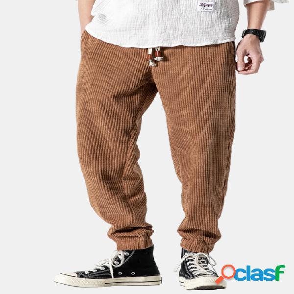 Pana para hombre diseño algodón color sólido cordón media cintura harem pantalones