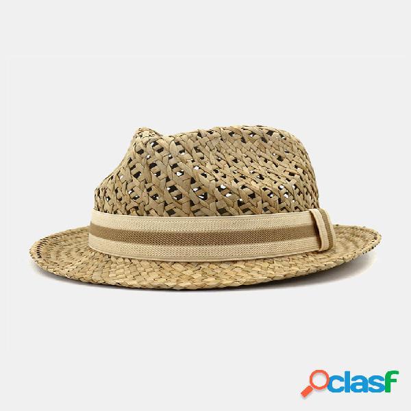 Hombre y mujer al aire libre protector solar de viaje para el sol sombrero estilo británico little jazzy straw sombrero