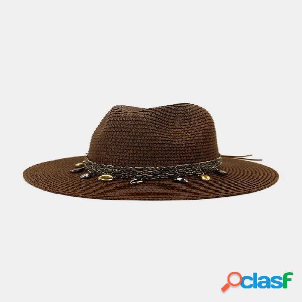 Hombres y mujer british wind jazz straw sombrero al aire libre protector solar transpirable big brim sun sombrero