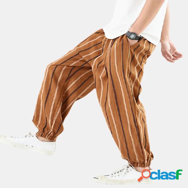 Rayas para hombre de lino ocasional flojo elástico cintura viga pies harem pantalones