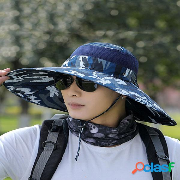 Sun sombrero pescador de ala extragrande para hombre sombrero protector solar para hombre anti-ultravioleta montañismo sombrero al aire libre protector solar para deportes sombrero