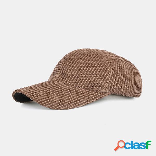 Unsiex corduroy rayas de color sólido patrón casual al aire libre protector solar de invierno para mantener el calor béisbol sombrero