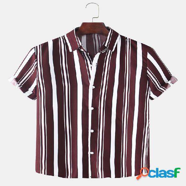 Rayas verticales para hombre estampadas ligeras y finas camisas de manga corta casuales