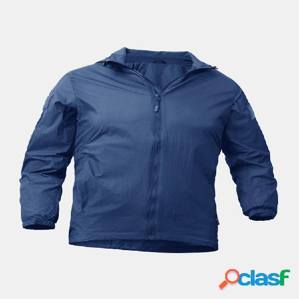 Protección solar para hombre impermeable regular fit transpirable al aire libre chaquetas deportivas de piel