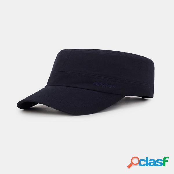 Gorra plana de algodón salvaje ajustable a prueba de viento para hombres estilo simple al aire libre protector solar de viaje sombrero