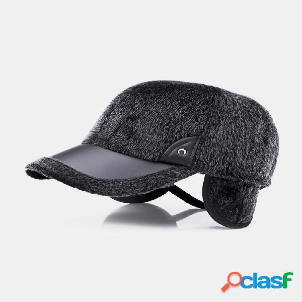 Hombre invierno cálido terciopelo cuero sombrero keep oreja cálido vendimia al aire libre gorra deportiva de béisbol para nieve