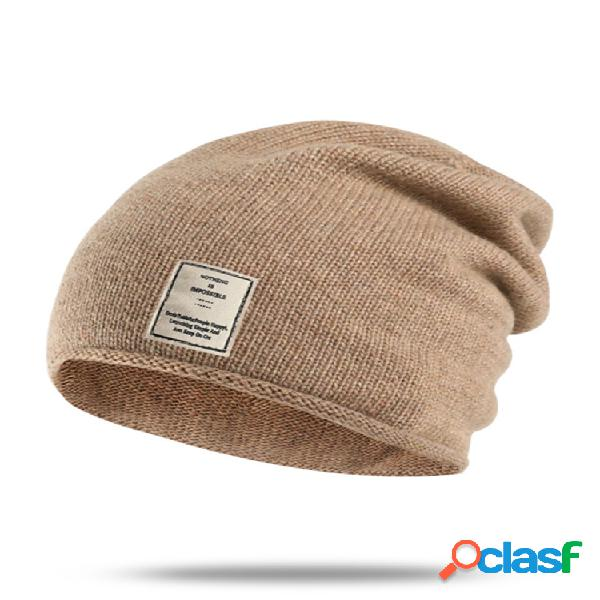 Mujer hombre gorro de punto salvaje sólido cálido sombrero al aire libre lana deportiva informal a prueba de viento sombrero