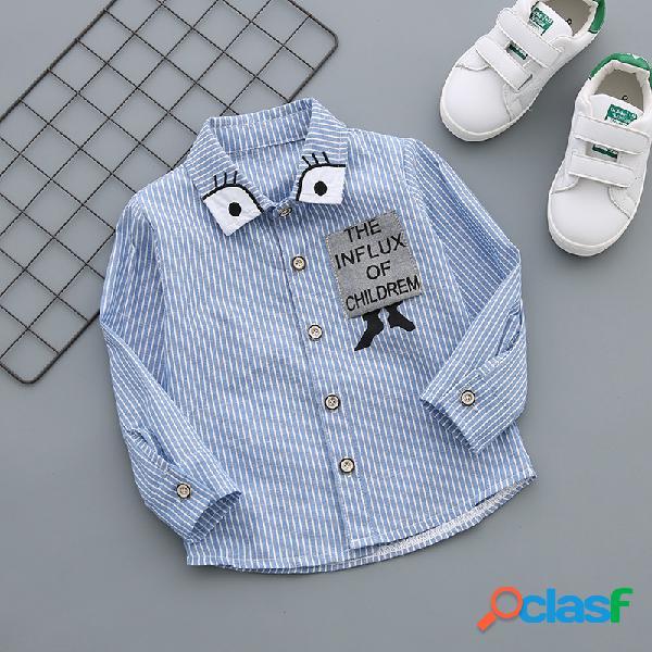 Rayas camisa delgado algodón de manga larga boy camisa