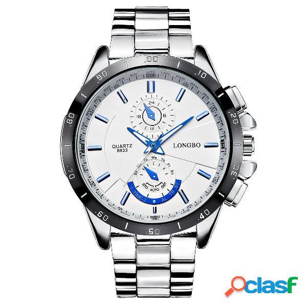 Acero inoxidable banda moda estilo empresarial luminoso pantalla reloj de cuarzo para hombre