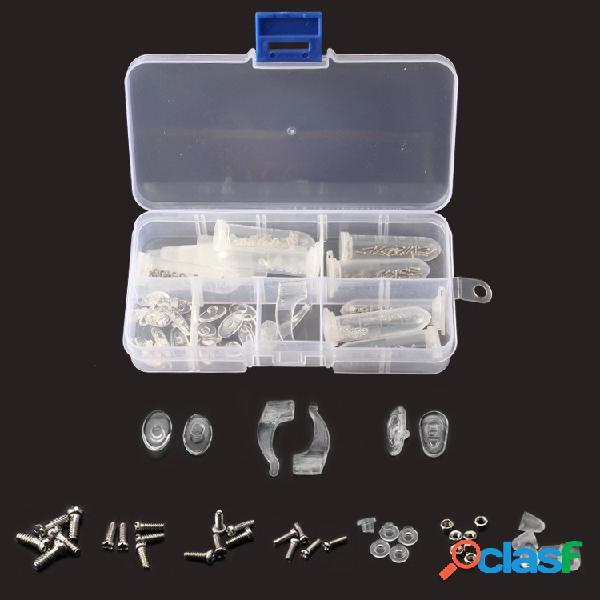 Gafas de sol con montura y almohadilla para la nariz tornillo caja cortador de nueces herramienta kit de reparación doméstica caja juego de combinación