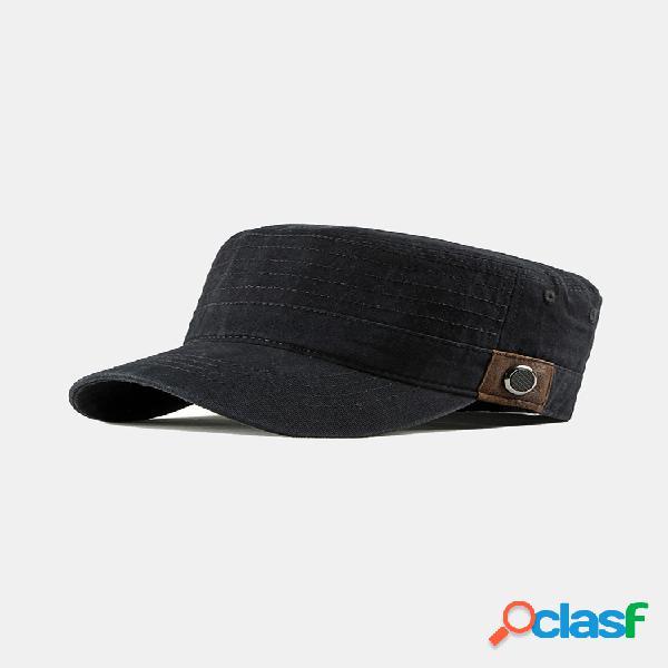Sombreros planos de algodón lavado para hombre al aire libre protector solar militar gorra de papá con pico militar