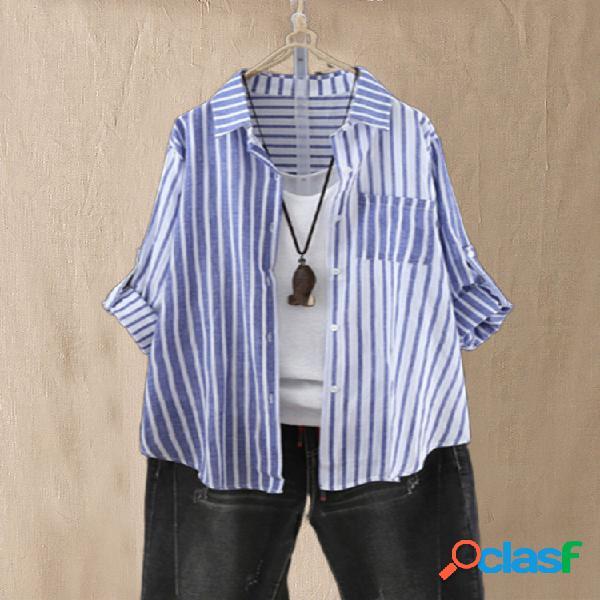 Rayas patchwork manga larga plus talla camisa para mujer