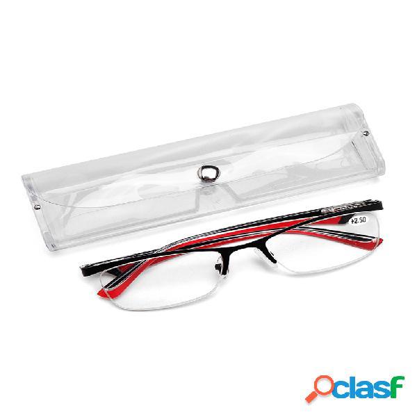Hombres mujeres medio borde gafas protegen los ojos lectura duradera de alta definición gafas