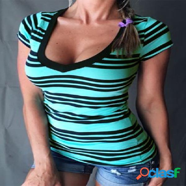 Azul y negro rayas v-cuello manga corta camiseta