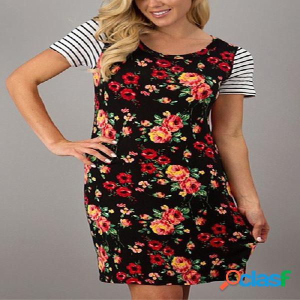 Negro al azar impresión floral rayas costura diseño vestido