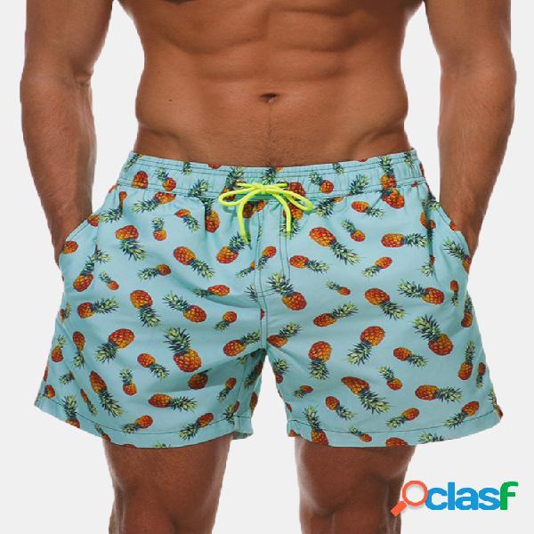 Pantalones cortos holgados con estampado de cordón de secado rápido con forro de malla para hombres