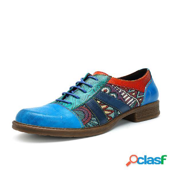 Socofy zapatos planos estampados de cuero con cordones
