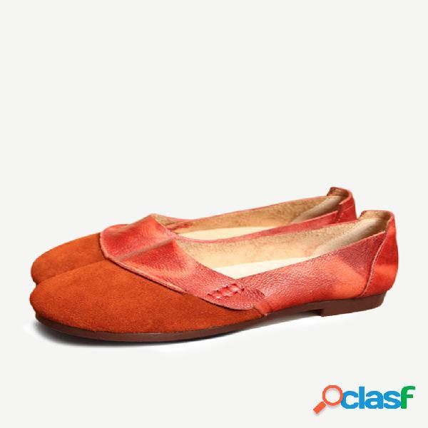 Socofy zapatos planos retros de cuero genuino zapatos cómodos blandos