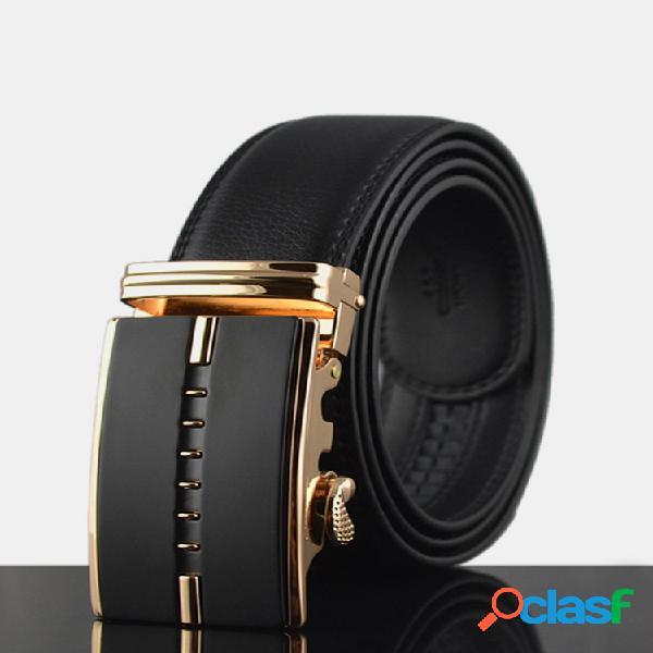 125-130cm cinturón de dos capas de cuero genuino con hebilla automática de negocio para hombres