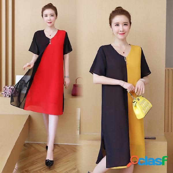 Costura contraste de gasa de manga corta vestido