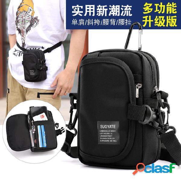 Exclusivo para hombres hombro diagonal cruz-cuerpo al aire libre sports mobile phone purse oxford cloth bolsillos deportivos multifunción