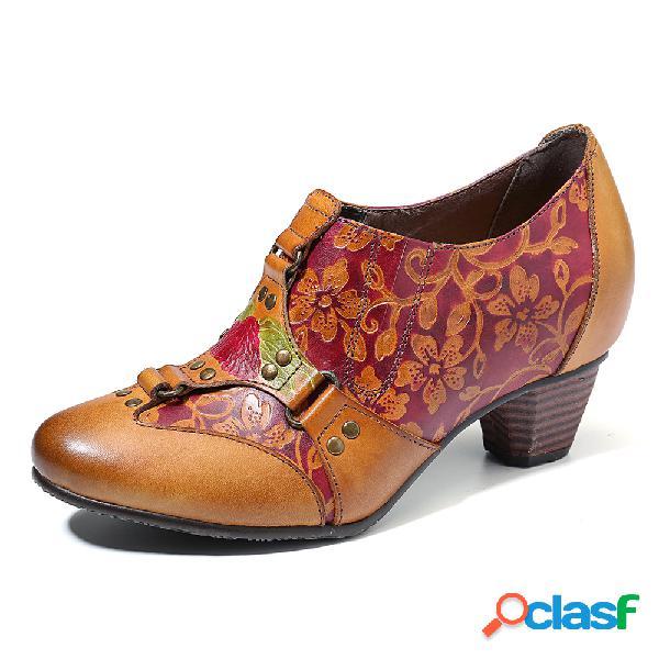Socofy cowgirl flores retro pintadas a mano patrón remache piel genuina zapatos de tacón bajo sin cordones