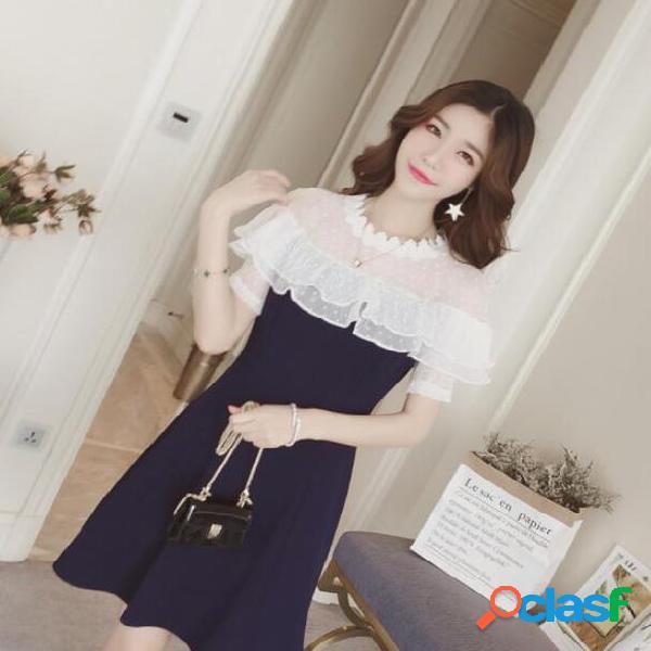Volantes cintura manga corta malla costura gasa vestido