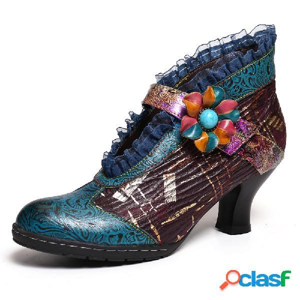 Socofy lace piel genuina zapatos de salón elegantes de tacón bajo con estampado floral