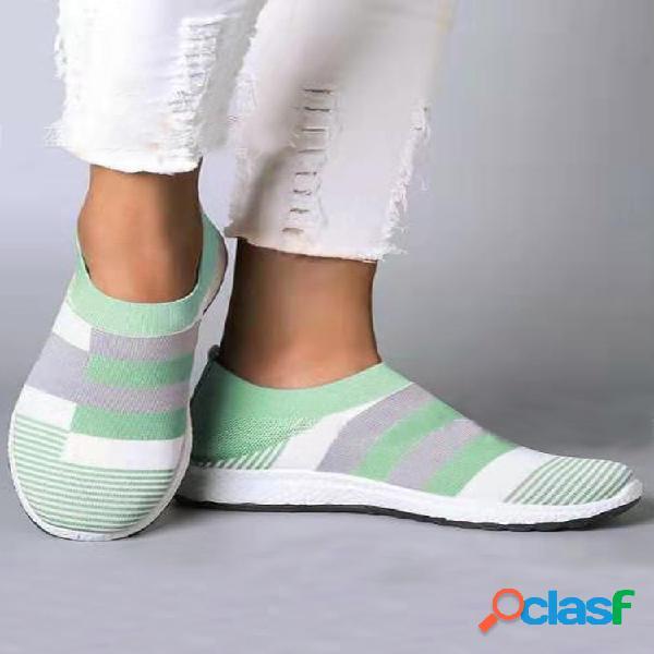 Tallas grandes mujer zapatillas planas elásticas de punto transpirable con empalme informal