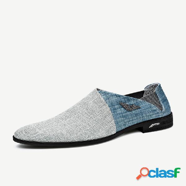 Zapatos formales casuales con decoración de metal y tela de estilo británico para hombre