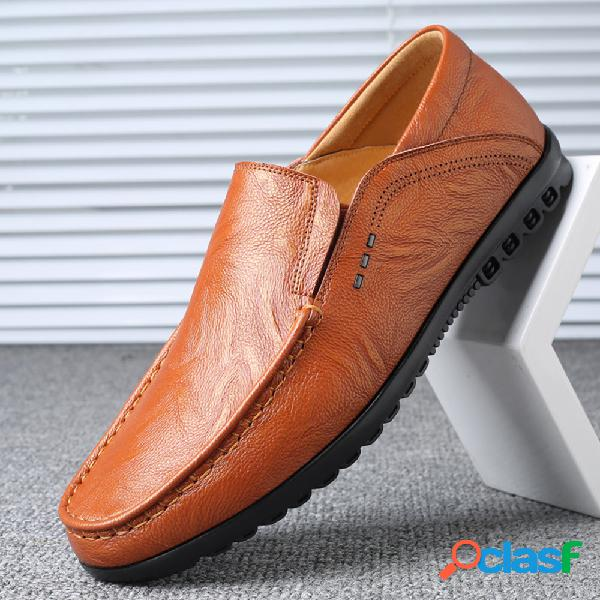 Los hombres cosen a mano antideslizante slip on soft sole casual driving shoes